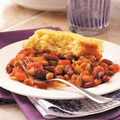 Corn Bread-Topped Frijoles Recipe