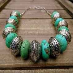 Turquoise  Tibetan Silver Stone Necklace