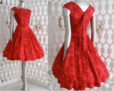 Vintage 50s RED Floral Full Skirt Cocktail Party Dress