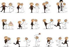 Vector cartoon wedding illustrations