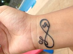 Infinity tattoo with my kids' initials