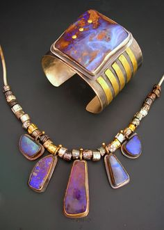 Boulder opal, sterling, and gold finished necklace and cuff