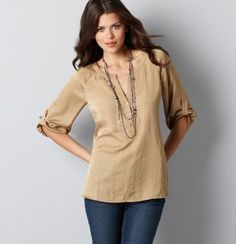 Love the simple tunic with long necklace