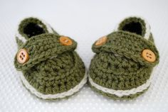 Olive Green Button Loafer Baby Booties - $18