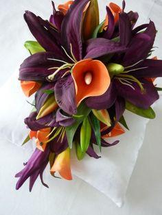 purple casablanca lily's, and orange cala lily's...