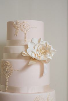 Beautiful light pink wedding cake
