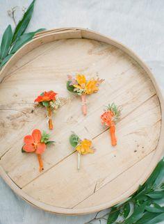 orange #wedding boutonnieres