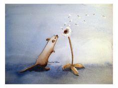 One Tiny Wish  8x10 inch Signed Art Print  Wishing by paintedbliss, $18.00