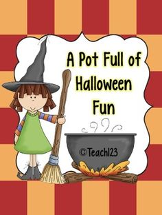 HALLOWEEN - A pot full of fun - 6 centers (science, fluency, vowels, syllables, writing, and  reading)  $