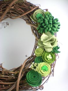 Shamrock wreath St Patricks Day wreath felt flower by madlywish