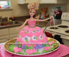 Homemade Barbie Doll Birthday Cake Design: I have boy/girl twins and for their 7th birthday they couldn't decide on what they wanted to do for a theme. So I chose for them lol. I made my daughter