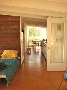 Large, natural, wood plank wall