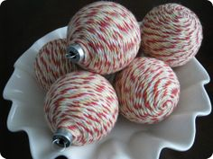 Christmas Ornament Idea with yarn and glue.. maybe use foam instead?