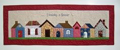 """""""FRIENDSHIP IS FOREVER""""  Wall Hanging.  45""""x16""""  Project from """"American Patchwork & and Quilting"""" magazine, issue 109. Machine applique and hand embroidery by Mariana Gaviola, free motion quilting by Marisela Rumberg. EMA IS QUILTING is the name of our Monday quilting group. Our meetings are now going to be online, because Carmen is returning to Spain this August.  As a surprise good-bye present, Mariana and I made this awesome quilt for her.  QUILTS BY MARISELA."""
