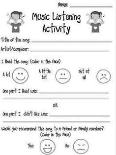 Music Listening Activity Worksheet--check out Dee Yoder's pinterest page for lots of good music stuff song, music worksheets, music feeling worksheets, activ worksheet