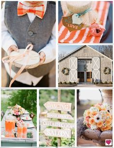 Rustic Orange and Blue Wedding Ideas | Heart Love Weddings. @Kristin Scruggs just focus on how cute the boys would look in bow ties!
