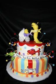 Dr. Suess baby shower cake.  Love this!  I would change the shape of the cake, but I love the idea of it!  @no way @Lindsey Grande Grande Grande