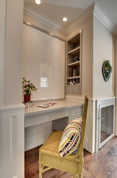 So put the shelves on the front, the dog crate where it is and instead of a desk a front load washer dryer with a counter over top and a curtain to hide it and you have my perfect laundry solution for the space between the den and kitchen!