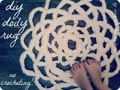 easy, no-crocheting diy doily rug