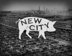"""New City"" neighborhood logo - a part of the Chicago Neighborhoods project | Designer: Steve Shanabruch - http://www.thechicagoneighborhoods.com/New-City"
