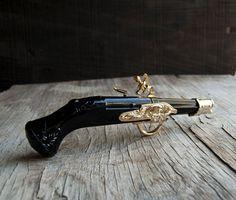 Dueling Pistol Gun Avon Glass Bottle by VintageParlorMens on Etsy, $25.00