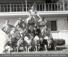 Unidentified students forming a pyramid outside (1962)
