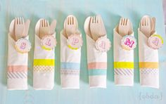 Good idea for a party- decorate napkins with inexpensive Washi Tape! All designs available in the Kara's Party Ideas Shop!