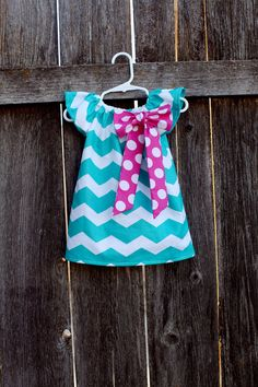 Turquoise Chevron Pink Polka Dot Bow Peasant by MooseBabyCreations, $27.50