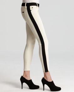 Hudson Jeans - LeeLoo Color Block Super Skinny Crop in Bone White