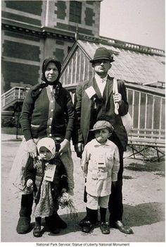 Immigrant family at Ellis Island.