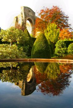 Autumn Reflections ~ Malmesbury Abbey from Abbey House Gardens, Wiltshire, UK