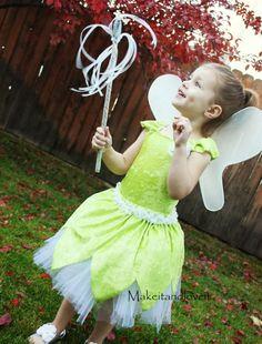 Tinker Bell Costume - via Make it & Love it #Halloween #BookWeek #DIY #sewing #tutorial #kids