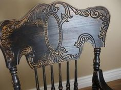 headboards, chairs, paint furnitur, paintings, homes, hens, black, decor idea, canes