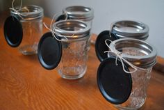 Mason Jars with chalkboard tags