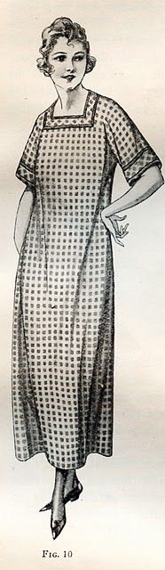 """Kimono """"apron"""" (no sleeve seam) from House Aprons And Caps - Instruction Paper With Examination Questions by Mary Brooks Picken (orig. published 1922)"""