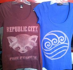 Republic City Fire Ferrets and Water Tribe bleach tshirts