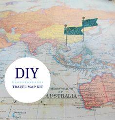 WANT!  DIY Travel Map Kit - World Map No. 1. $18,00, via Etsy.