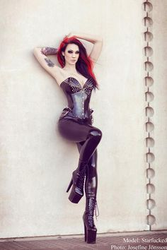 Sexy latex outfit.