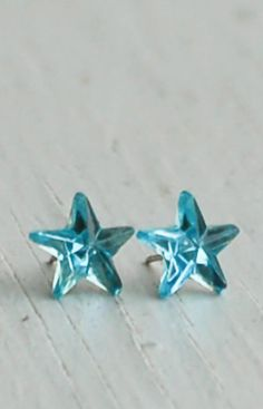 Blue STAR Earrings RHINESTONE Post Earrings