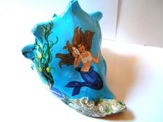 Hand painted conch shell mermaid seashell by beachseacrafts, $22.95