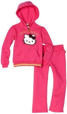 Hello Kitty Toddler Girls Fashionable Velour Applique On Fleece Active-Wear Set
