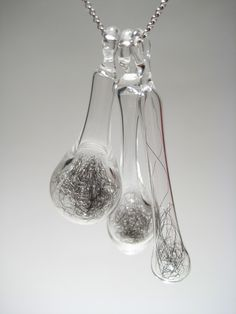 Lark Isadora - Filament Glass Pendants with Silver Wool