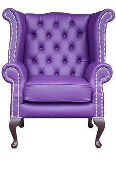 Designer Purple Leather Chesterfield Chair