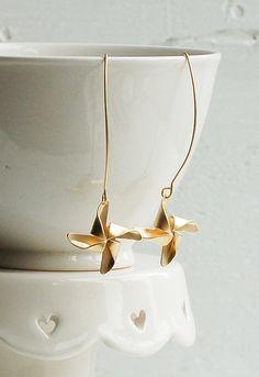 Gold PINWHEEL EARRINGS $26.25