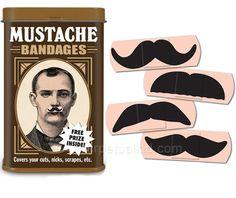 mustache band-aids!!
