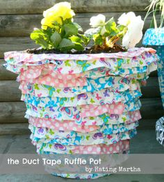 Make this adorable pot with just duct tape! craft, mothers day, ruffl, duck tape, ducks, flower pots, duct tape flowers, tapes, diy