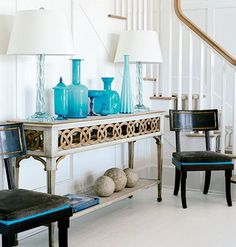 Like the decorating-not the table turquoise blue, bottl, color, decorating ideas, foyer design, hous, gold accents, entryway, console tables