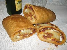 Receta de Bollo de chorizo, jamón y huevo