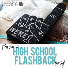 Throw A High School Flashback Party!! Get FREE printables, treat idea, outfit ideas and more here!