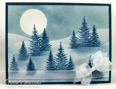 handcrafted greeting card ... Winter Moonlight Snow Scene  ... tutorial on KittieKraft blog ... masking, sponging and stamping create this serene scene ... blues ... beautiful card!!